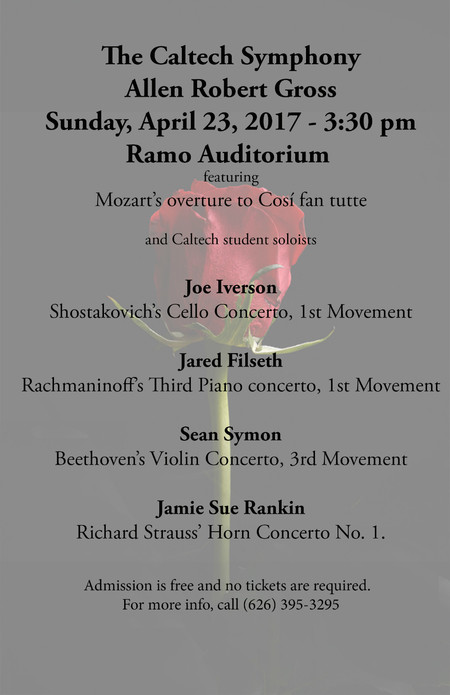 poster for Caltech Symphony concert on April 23, 2017