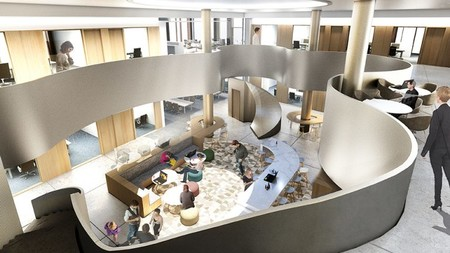 A rendering of the interior of the Chen Neuroscience Research Building.