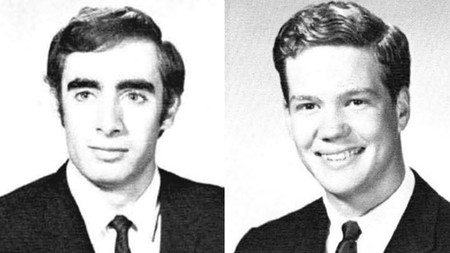 Senior class portraits of Charles Zeller (BS '68), left, and Peter Cross (BS '68)
