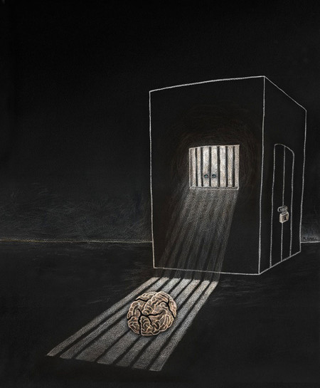 A brain alone in a cell