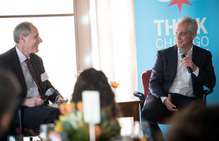 Chicago Mayor Rahm Emanuel and Caltech President Thomas F. Rosenbaum discuss the role of science and technology in government at a lunch with students and faculty on Monday. Emanuel, along with a delegation of Chicago business leaders, visited Caltech as