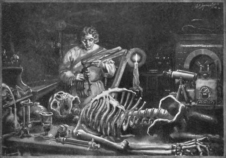 Drawing of Victor Frankenstein working on his monster. A skeleton lies on the table in front of him