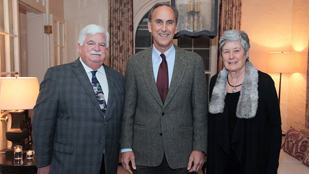 Ted (BS '65, MS '66) and Ginger Jenkins with John Grotzinger (center), holder of the Ted and Ginger Jenkins Leadership Chair for the Division of Geological and Planetary Sciences.