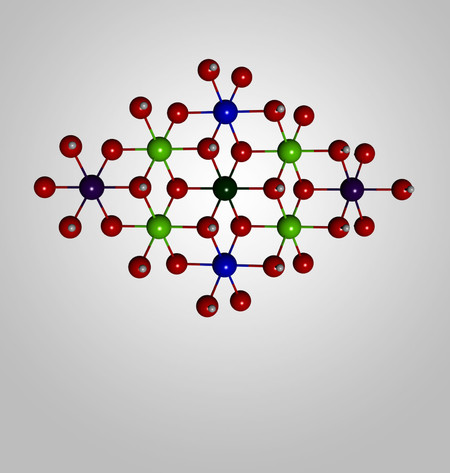 A graphical representation of the molecular structure of the solar-fuel catalyst developed at Caltech.