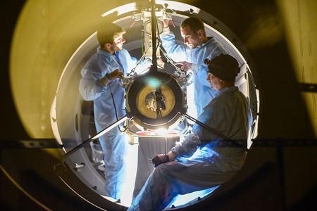 View inside 48-inch Palomar telescope