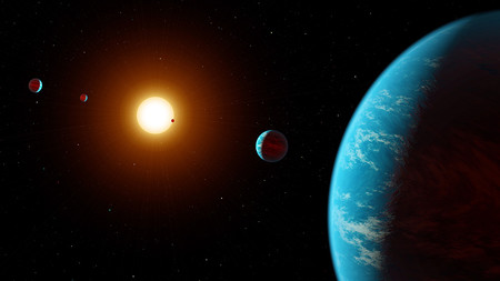 Artist's visualization of an exoplanetary system