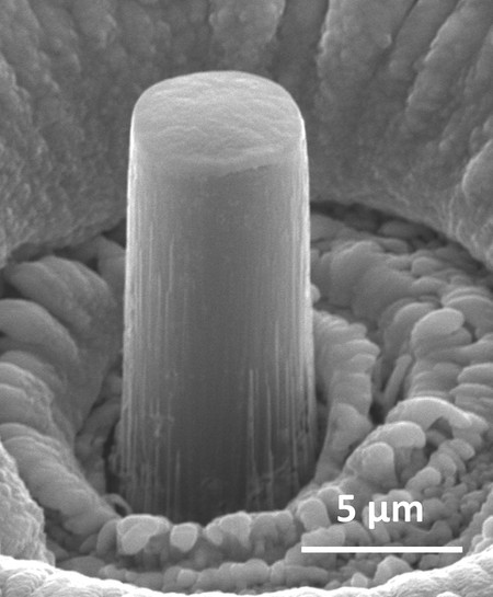 A micrometer-sized pillar of lithium.