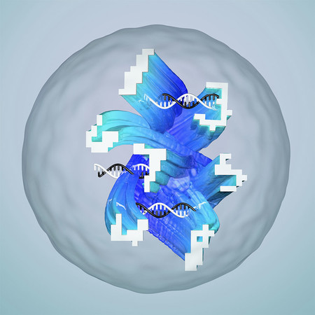 Conceptual illustration of a droplet containing an artificial neural network made of DNA that has been designed to recognize complex and noisy molecular information, represented as 'molecular handwriting.'