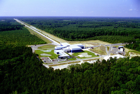 aerial photo of the LIGO facility in Livingston, Lousiana