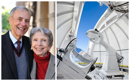 Ronald (MS '62, PhD '64) and Maxine Linde; methane and ethane above Caltech's campus are measured with a repurposed coelostat.