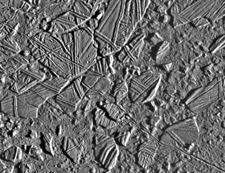Chaos terrain on Jupiter's moon Europa.