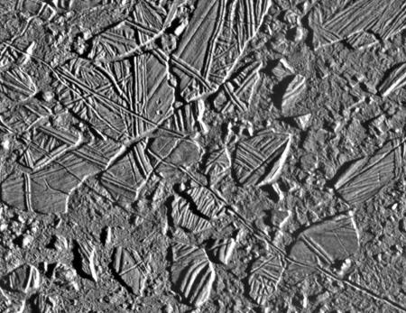 Chaos terrain on Jupiter's moon Europa.
