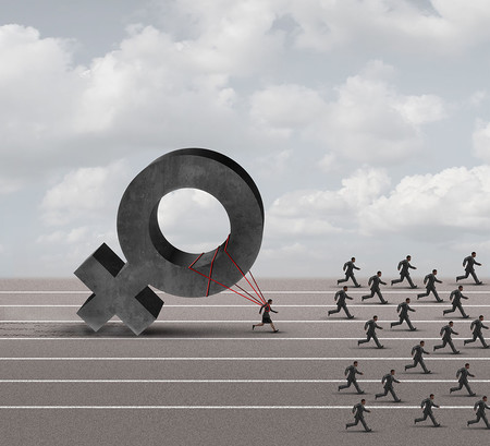 Graphic showing a woman being held back by sexism while men advance