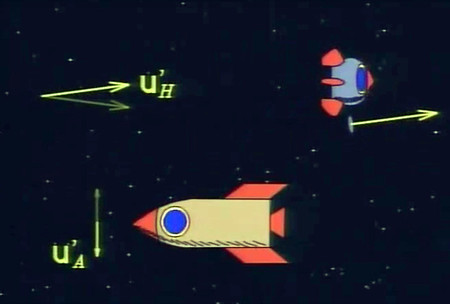 Image of spaceships and vector math symbols