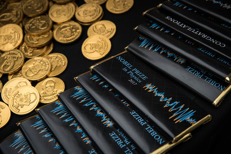 Nobel Prize-themed chocolate coins and candy bars
