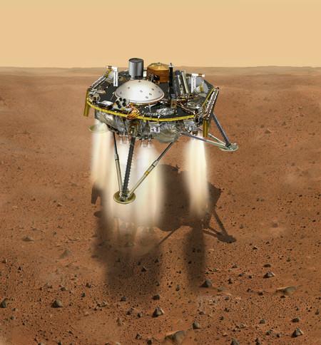 artist's conception of InSight landing on Mars