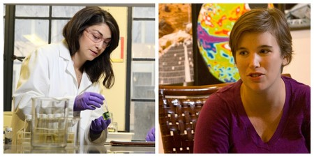 "Caltech postdoctoral scholars Jessica Hinojosa (left) and Abigail ""Abby"" Crites (right)."