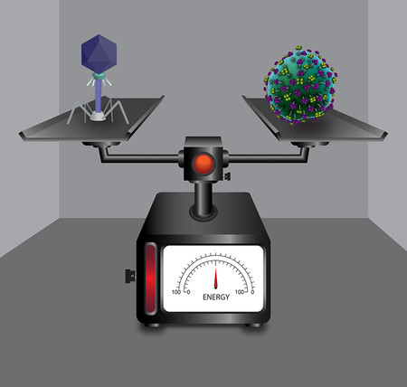 Two viruses on a scale