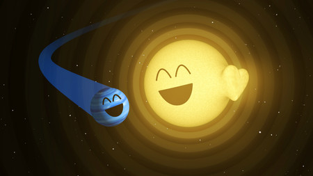 illustration of a blue planet orbiting a yellow sun
