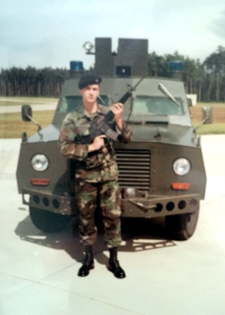 This photo of Timothy J. Winiecki, property services assistant with Property Services, was taken during his service in the Royal Air Force in Bentwaters, England; he served in the 81st Security Police Squadron from 1985 to 1988.