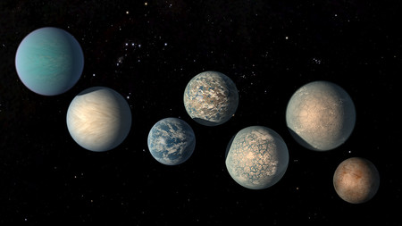 Illustration of seven TRAPPIST-1 planets