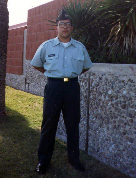 Jose A. Navarrete, Jr., administrative assistant in Parking & Commuter Services, enlisted in the U.S. Army for three years in 1990, during which time he served as a journalist. The photo above was taken during his time as a cadet at the University of Ariz