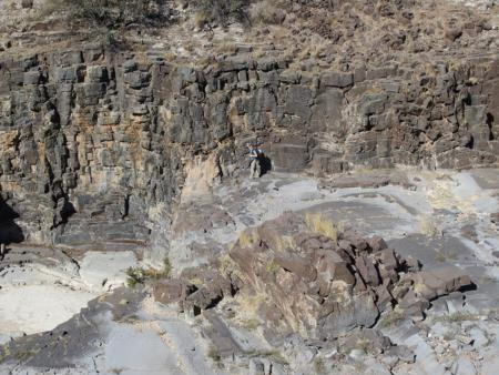 A 2.5-billion-year-old stromatolite reef in South Africa is evidence of microbial life.