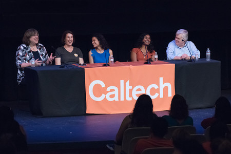 Women from JPL, which is managed for NASA by Caltech, address high school students.