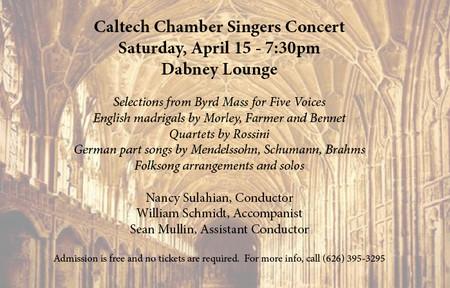 poster for Caltech Chamber Singers concert