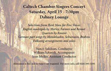 poster for Caltech Chamber Singers concert