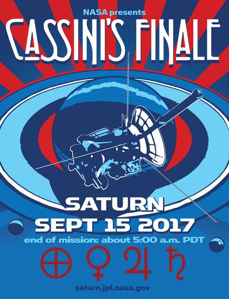 retro poster for Cassini finale