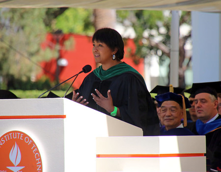 photo of Mae Jemison speaking at Caltech's 2017 Commencement