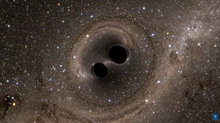 simulated picture of two merging black holes