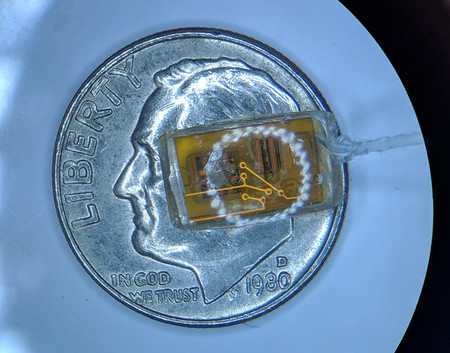 A new pressure-sensing implant for the eye on top of a dime for scale.