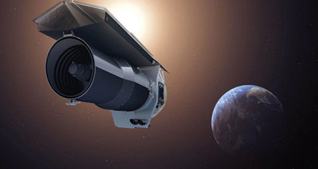 artist concept of the Spitzer Space Telescope above the earth