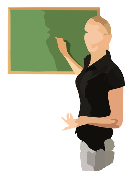 Illustration of a woman at a chalkboard
