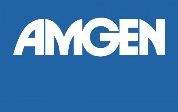 logo for Amgen, white on blue