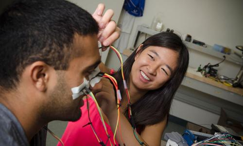 Sagar Vaidyanathan, a visiting undergraduate researcher from UCLA, and Caltech sophomore Sophia Chen