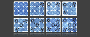 An artist's rendering of a game of tic-tac-toe played with DNA tiles