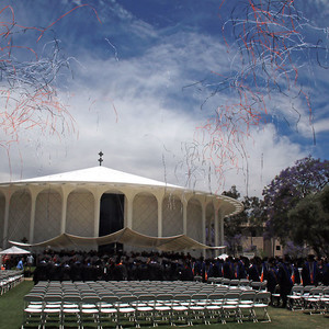 photo of confetti over Beckman Mall at Commencement