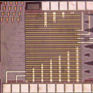 An image of Hajimiri's light-bending silicon chip.