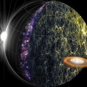 Artwork of SPHEREx science goals