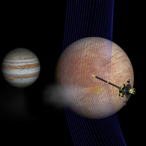 artist's illustration of Jupiter and Europa with the Galileo spacecraft