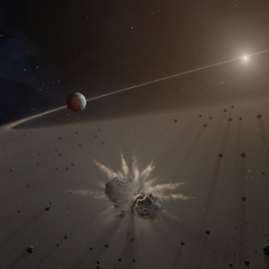 illustration of exoplanet and small bodies