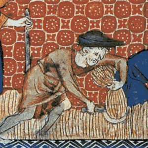 A medieval tapestry depicts serfs harvesting wheat.