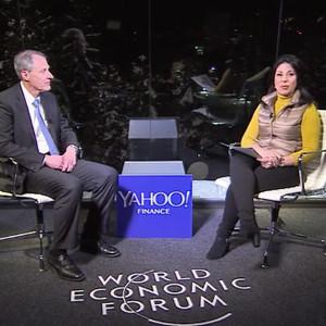 photo of Caltech President Thomas Rosenbaum being interviewed