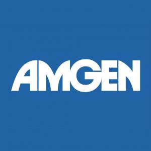 logo for Amgen, white on blue