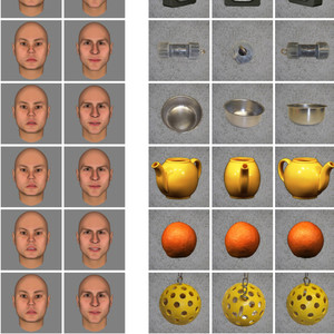 Images of mens faces, and images of clocks, teapots, and oranges.