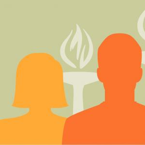 graphic of three human silhouettes and two torches