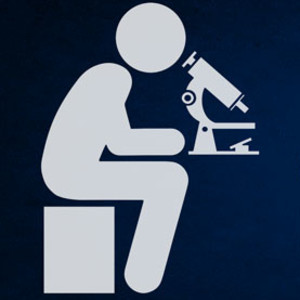 A graphic showing a scientist looking into a microscope. The image is duplicated four times, with each copy becoming more obscured than the last